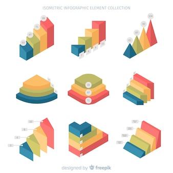 Kolekcja element izometryczny infographic
