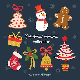 Kolekcja element świąteczny w płaskiej konstrukcji