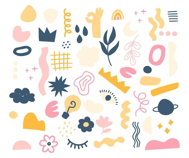 Kolekcja elementów abstrakcyjnych i kształtów