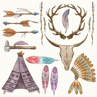 Kolekcja elementów akwarela boho