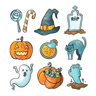 Kolekcja elementów akwarela halloween
