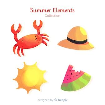 Kolekcja elementów akwarela lato