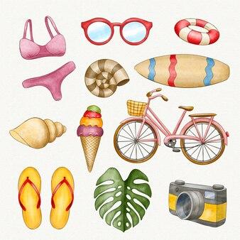 Kolekcja elementów akwarela plaży