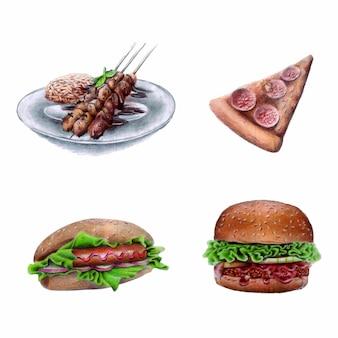 Kolekcja elementów akwarela żywności
