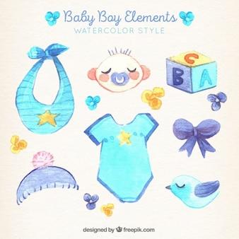 Kolekcja elementów baby boy w stylu akwareli