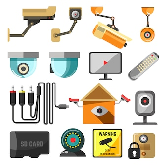 Kolekcja elementów bezpieczeństwa i nadzoru.