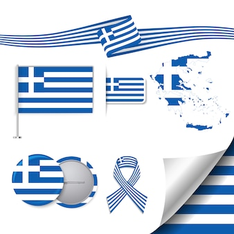 Kolekcja elementów biurowych z flagą projektu greckiego