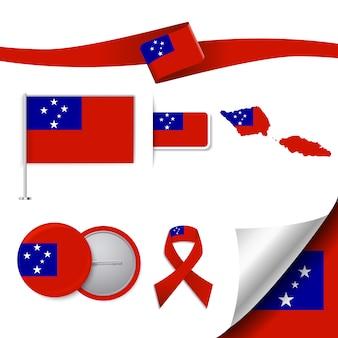 Kolekcja elementów biurowych z flagą samoa design