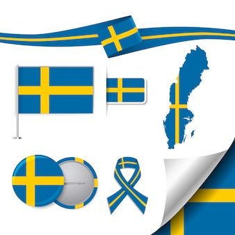Kolekcja elementów biurowych z flagą szwecji
