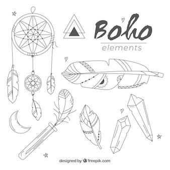 Kolekcja elementów boho o płaskiej konstrukcji