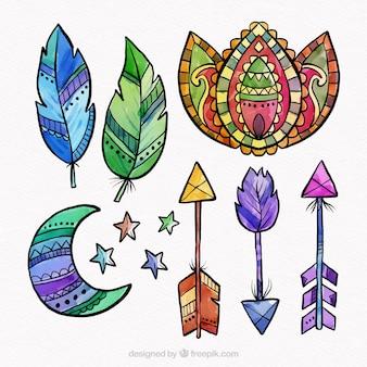Kolekcja elementów boho w stylu akwareli