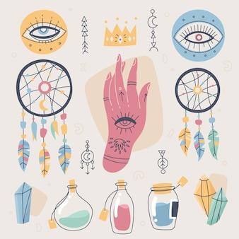 Kolekcja elementów boho