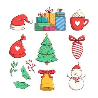 Kolekcja elementów bożonarodzeniowych z kolorowym stylem doodle