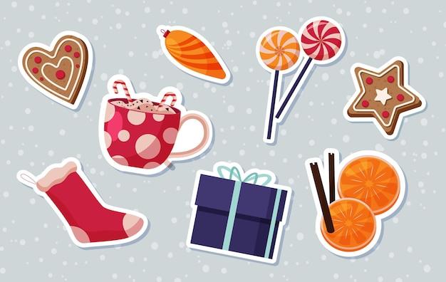 Kolekcja elementów cristmas w płaskiej konstrukcji