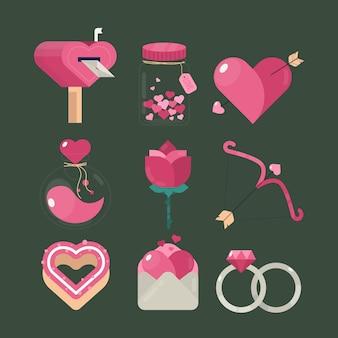 Kolekcja elementów cute walentynki