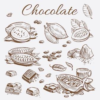 Kolekcja elementów czekoladowych. ręcznie rysunek ziarna kakaowego, batony i liście