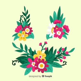Kolekcja elementów dekoracji kwiatowych