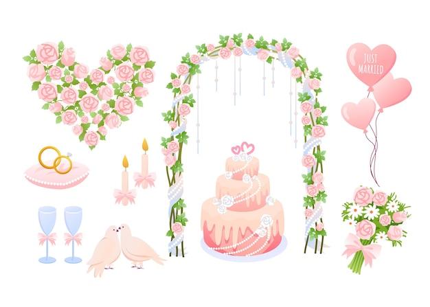 Kolekcja elementów dekoracji ślubnych balony w kształcie serca, gołąbki, tort i ozdobny kwiatek