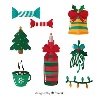 Kolekcja elementów dekoracji świątecznych
