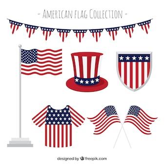 Kolekcja elementów dekoracyjnych z amerykańską flagę