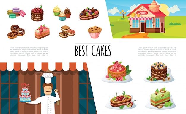 Kolekcja elementów deserów kreskówek z cukiernikiem sklep ze słodyczami makaroniki ciasta i ciasto z jagodami babeczki pączki muffin