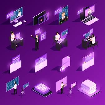 Kolekcja elementów edukacji online w kolorze fioletowym