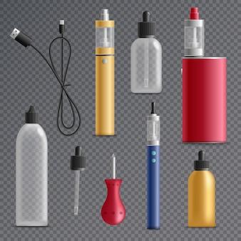 Kolekcja elementów elektronicznych papierosów