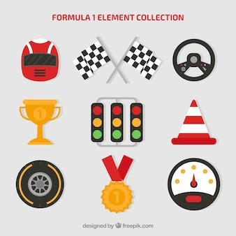 Kolekcja elementów formuły 1 w stylu płaskiej