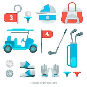 Kolekcja elementów golfa
