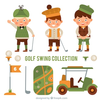 Kolekcja elementów golfowych