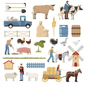 Kolekcja elementów gospodarstwa hodowlanego