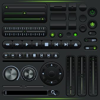 Kolekcja elementów graficznego interfejsu użytkownika odtwarzacza multimedialnego