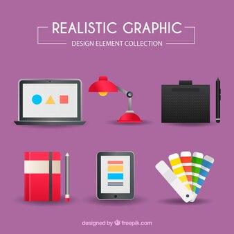Kolekcja elementów graficznych w realistycznym stylu