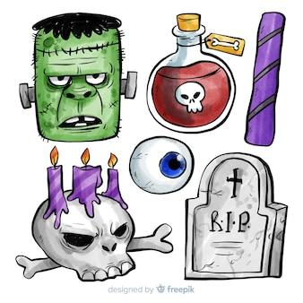 Kolekcja elementów halloween w akwarela