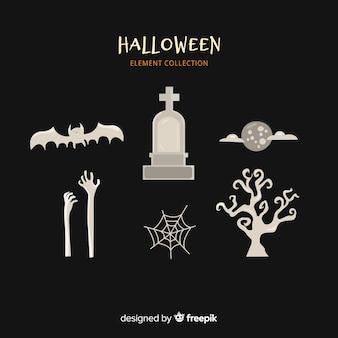 Kolekcja elementów halloween w płaska konstrukcja