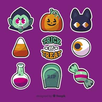 Kolekcja elementów halloween w płaskiej konstrukcji
