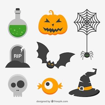 Kolekcja elementów halloween w płaskim stylu