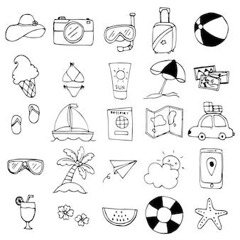 Kolekcja elementów i akcesoriów podróżniczych