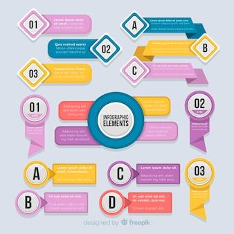 Kolekcja elementów infografika płaska konstrukcja