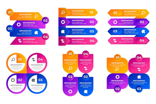 Kolekcja elementów infografiki gradientu