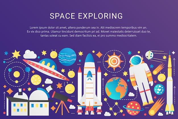 Kolekcja elementów infografiki wektorowej modnej płaskiej przestrzeni gradientowej wszechświata ze słońcem, planetami, statkami kosmicznymi, kosmitami ufo, astronautą, ilustracją asteroid