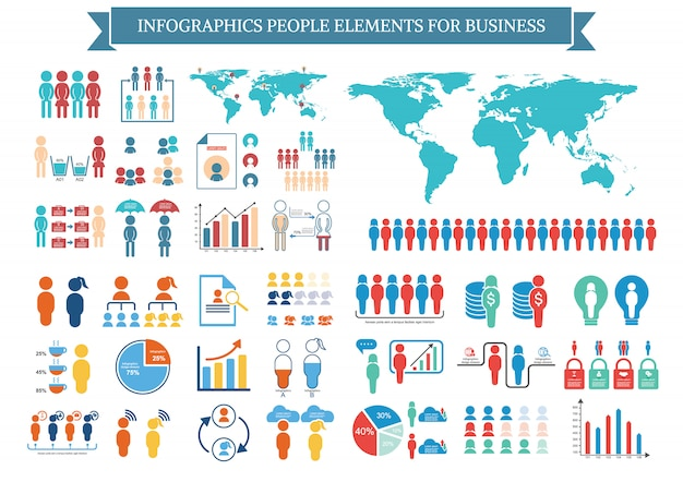 Kolekcja elementów infographic ludzi dla biznesu