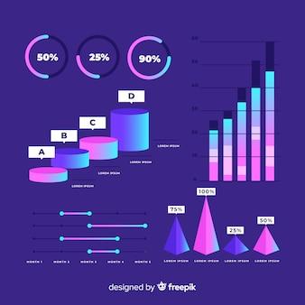 Kolekcja elementów infographic w stylu gradientu