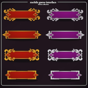 Kolekcja elementów interfejsu, pól tekstowych i banerów do zwykłej gry mobilnej