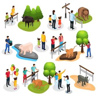 Kolekcja elementów izometrycznego zoo z różnymi rodzinami zwierząt, dziećmi i opiekunami zwierząt na białym tle