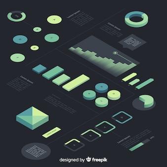 Kolekcja elementów izometryczny gradient infografika