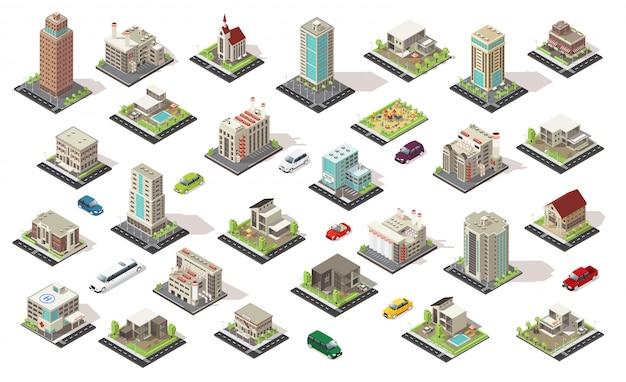 Kolekcja elementów izometryczny miasta