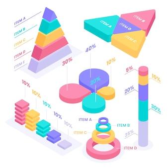 Kolekcja elementów izometryczny plansza
