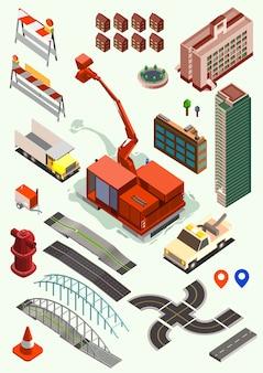 Kolekcja elementów izometrycznych konstruktora mapy miasta
