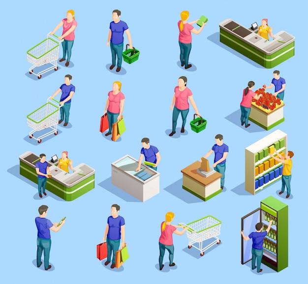 Kolekcja elementów izometrycznych supermarketów